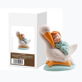 Figurine Cigogne qui Dort avec Enfant