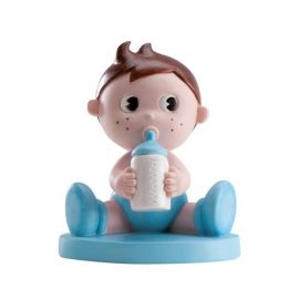 Figurine de Petit Garçon en Bleu avec Biberon 10 cm