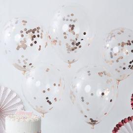 5 Ballons à Confettis Or Rose 30 cm