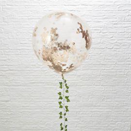 3 Ballons Géants Confettis Roses et Dorés 90 cm