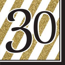 16 Serviettes 30 Noir et Or