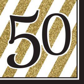 16 Serviettes 50 Noir et Or