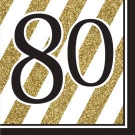 16 Servilletas 80 Negro y Oro