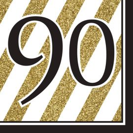 16 Servilletas 90 Negro y Oro