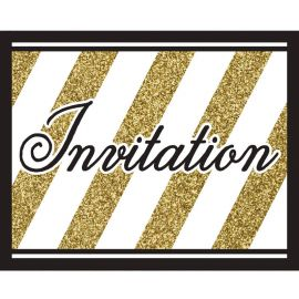8 Invitations Noir et Or