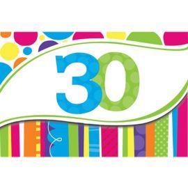 8 Invitaciones 30 Rayas y Puntos