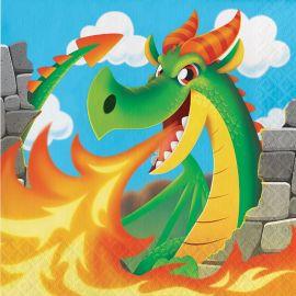 16 Serviettes Dragons 33 cm