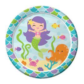 8 Assiettes Sirène 18 cm