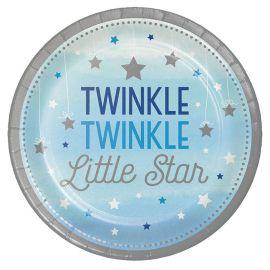 8 Assiettes One Little Star Boy 23 cm