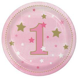 8 Assiettes One Little Star Girl 18 cm