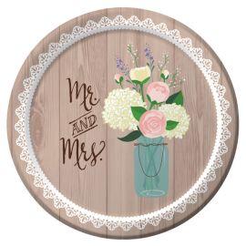 8 Assiettes Rustique Mariage 18 cm