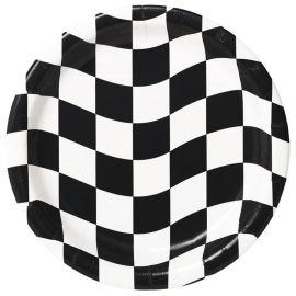 8 Platos Blanco y Negro 23 cm