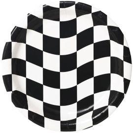 8 Assiettes Noir et Blanc 18 cm