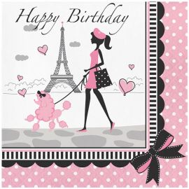 18 Serviettes Paris Happy Birhtday 33 cm